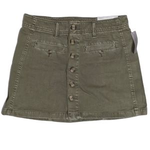 American Eagle Hi-Rise A-Line Skirt Olive Button 4